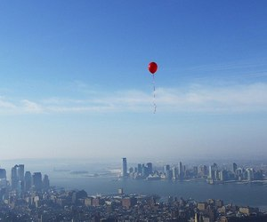 balloons, city, and red image