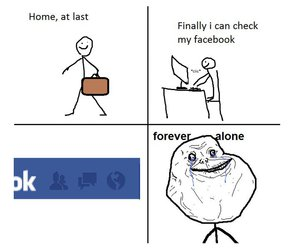 forever alone, facebook, and lol image