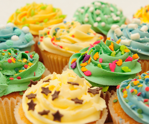 colorful, cream, and cupcakes image