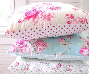 pillow, floral, and flowers image