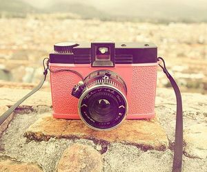 camera, pink, and photography image