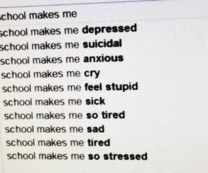 school, depressed, and text image
