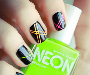 nails, neon, and black image