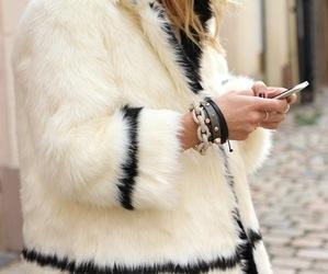 fashion, faux fur, and jacket image