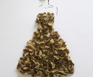 art, leaves, and dress image