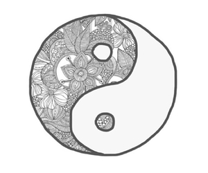 flower, yin-yang, and hipster image