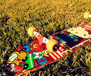 hello kitty, skateboard, and skate image