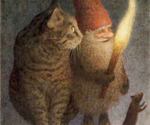 cat, gnome, and art image