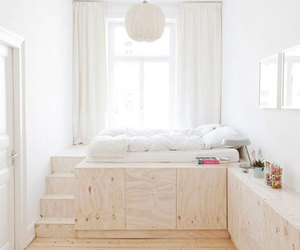 bed, wood, and interior design image