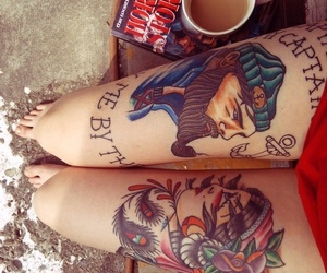 tattoo, book, and legs image