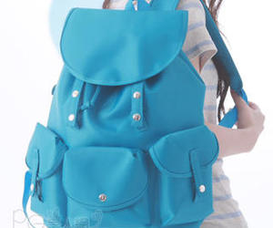 asian, backpack, and blue image