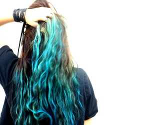 hair, blue, and brunette image