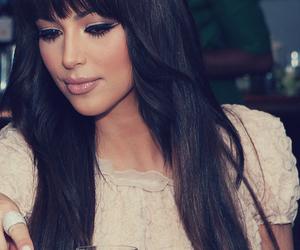 kim kardashian, hair, and bangs image