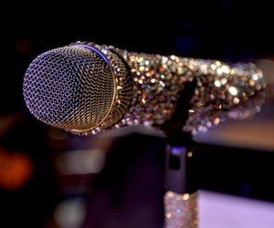 microphone, glitter, and music image