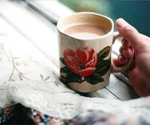 vintage, coffee, and flowers image