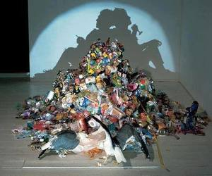 art, shadow, and trash image