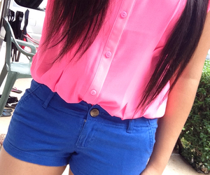 blue shorts, cute outfit, and hollister shorts image