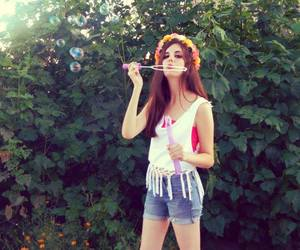 bubbles, flower crown, and girl image