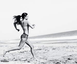 beach, black and white, and fitness image