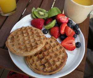 food, fruit, and waffles image
