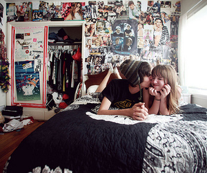 bedroom, couple, and cute couple image