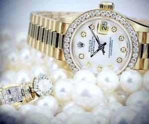 diamonds, pearl, and rolex image