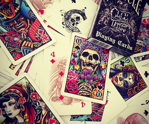 bicycle, playing cards, and tattoo image
