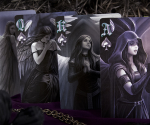 bicycle, playing cards, and anne stokes dark hearts image