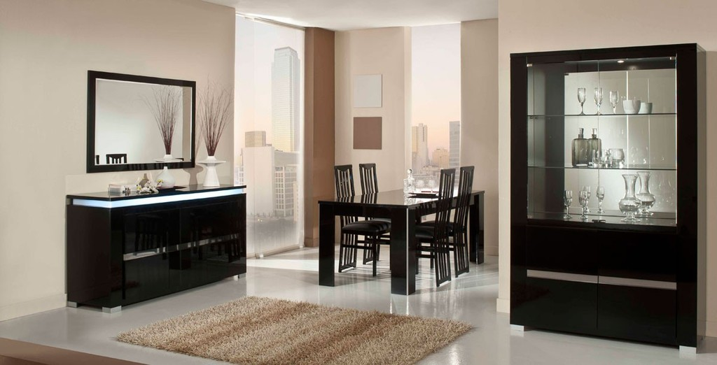 Nice Modern Lacquer Dining Table Set Furniture In Black   Features: Made In  Italy Modern Dining, Black Lacquer Coating, Light On Buffet And Curio, ...