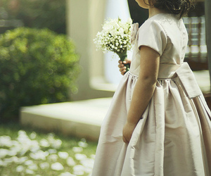 flowers, girl, and kid image