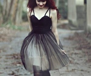 dress, red hair, and black image