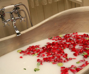 bath, rose, and flowers image