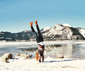 girl, snow, and mountains image