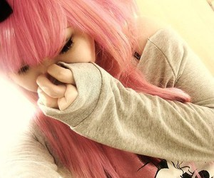 cute, girl, and pink hair image