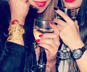 girl, lips, and champagne image