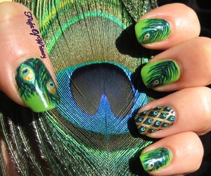 nails, green, and peacock image