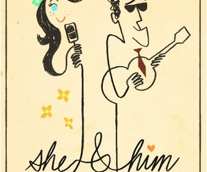 she & him, illustration, and she and him image