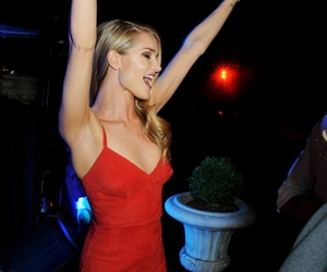 blonde, party, and red dress image