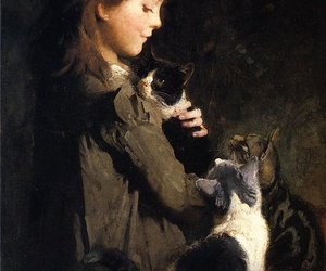 art, cat, and painting image