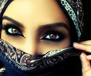 eyes, makeup, and hijab image