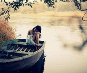 girl, boat, and alone image