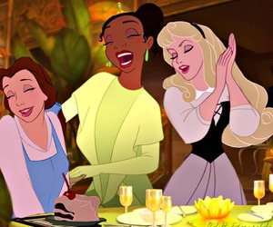 belle, tiana, and aurora image
