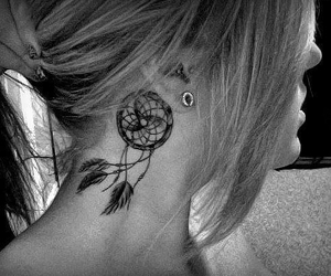 black&white, pretty, and tattoo image