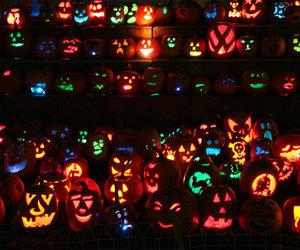 Halloween, light, and pumpkin image