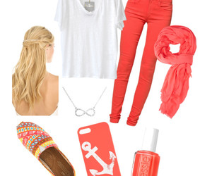 coral, girl, and Polyvore image