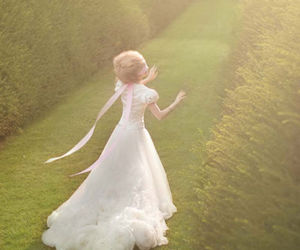 bride, garden, and dress image