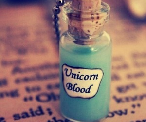 unicorn, blood, and blue image