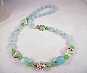 clear crystal beads, necklace, and chalcedony image