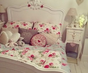 bed, room, and cute image