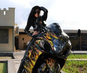 bikes, brunette, and flames image